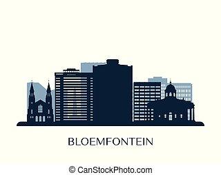 Bloemfontein skyline, monochrome silhouette.
