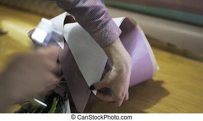 bloemist, nieten, bladen, van, wikkelend papier, en,...