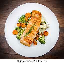 bloemkool, wortels, salmon, bed, filet, broccoli