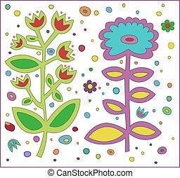 bloempatroon, achtergrond, witte