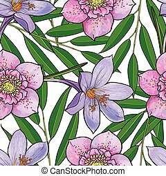 bloempatroon, seamless, krokus, vector, hellebores