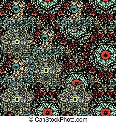 bloempatroon, seamless, vector, achtergrond, mandala