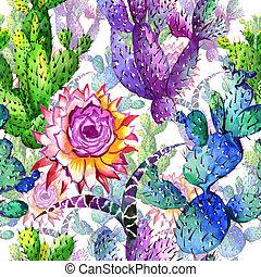 bloempatroon, watercolor, wildflower, cactus, style.