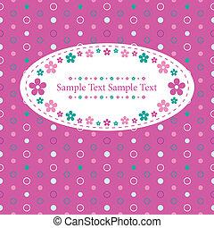 bloemrijk, punt, polka, begroetende kaart