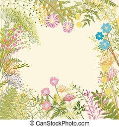 bloemtuin, kleurrijke, lente, achtergrond, feestje