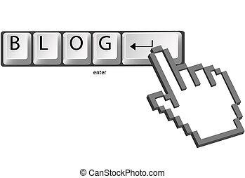 blog, キー, かちりと言う音, 手, カーソル, コンピュータ, ピクセル