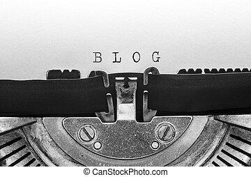 blog, タイプされる, タイプライター, 型