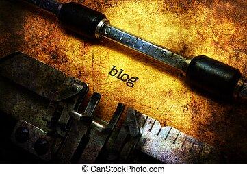 blog, テキスト, 概念, グランジ, タイプライター