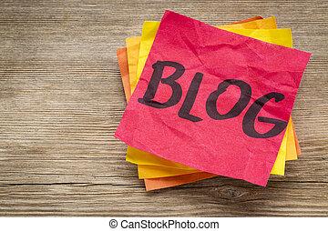 blog, 単語, 上に, a, 付せん