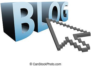 blog, 単語, 大きい, ピクセル, カーソル, 矢, かちりと言う音, 3d