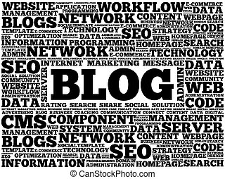 blog, 単語, 雲
