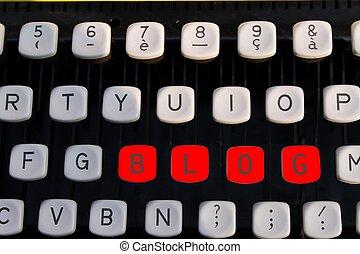 blog, 古い, タイプライター