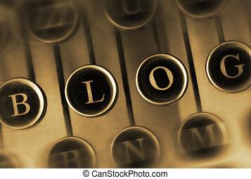 blog, 型, 単語, タイプライター