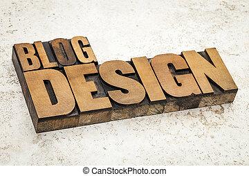 blog, 設計, 在, 木頭, 類型