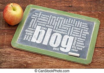 blog, 黒板, 単語, 雲