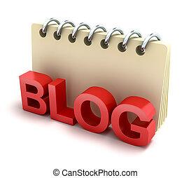 blog, 3d, bloc-notes, icône