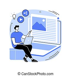 Blog abstract concept vector illustration.