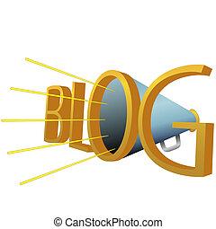 blog, accionado, grande, alto, megáfono, blogging, 3d