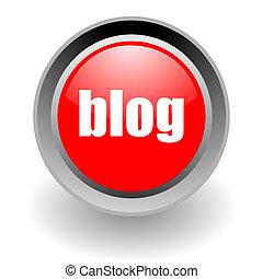blog, acier, glosssy, icône
