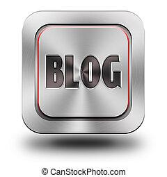 Blog aluminum glossy icon