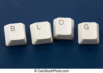 Blog and computer keyboard, internet Diary concept