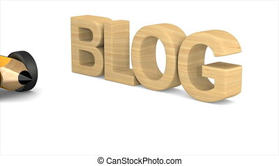 blog and pencil on white background. Isolated 3D...