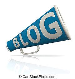 blog, azul, megafone