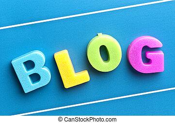 blog, bleu, mot, planche