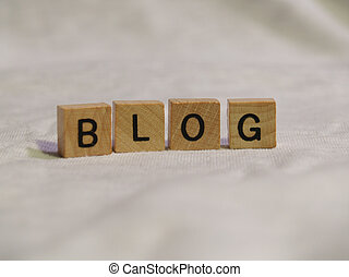 Blog Blocks - The word BLOG spelled out with wooden tiles