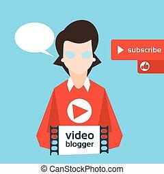 blog, blogger, mulher, conceito, vídeo