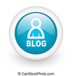 blog blue circle glossy web icon on white background