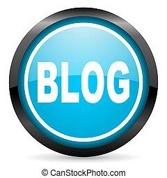blog blue glossy circle icon on white background