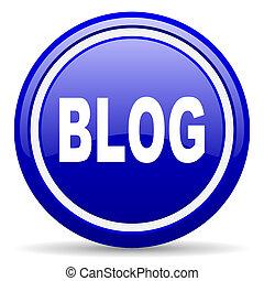blog blue glossy icon on white background