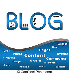 Blog Blue with Keywords - Blog text with related keywords in...