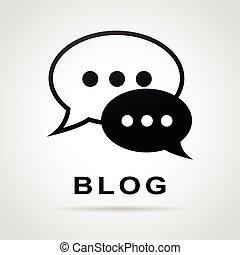 blog, bolhas, conceito, fala