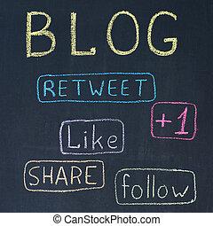 blog, botones, acción