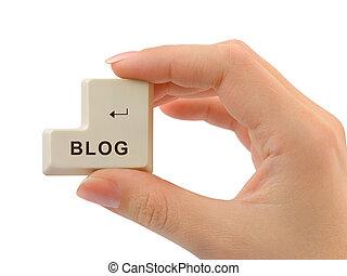 blog, bouton, informatique, main