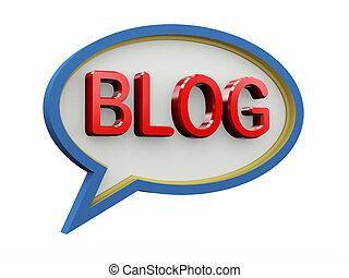 blog, bulle, parole, 3d
