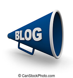 A blue bullhorn or megaphone with the word blog on it, on white background