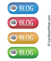 Blog buttons isolated over a white background.