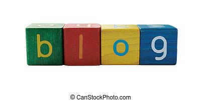blog, children\'s, lettres, bloc
