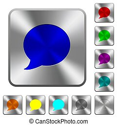 Blog comment bubble rounded square steel buttons