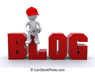 blog, computador portatil, 3d, carácter, señal