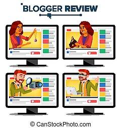 blog, conceito, fashion., blogger, revisão, testar, blogger., channel., ilustração, recording., functional., viver, mulher, vídeo, flâmula, vector., online, popular, broadcast., homem, caricatura