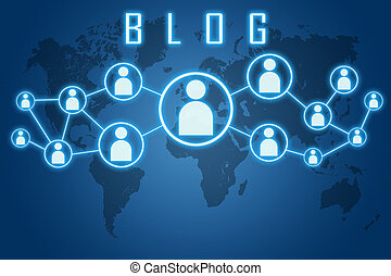 Blog text concept on blue background with world map and social icons.