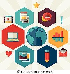 Blog concept illustration in flat design style