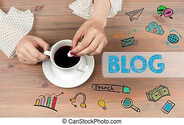blog, concept., taza para café, punta la vista, en, tabla de...