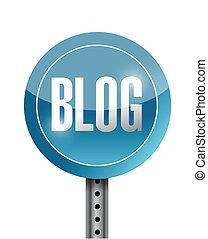 blog, conception, route, illustration, signe