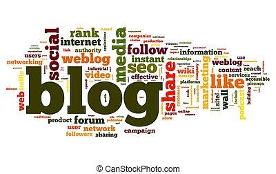 blog, concepto, palabra, nube, etiqueta