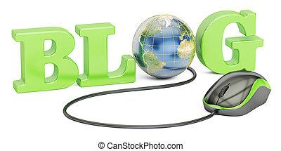 blog, concetto, 3d, interpretazione, isolato, bianco, fondo